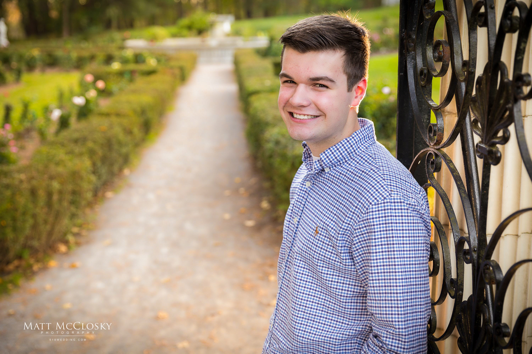 Jake | High School Senior Portrait Saratoga Springs NY | Yaddo Gardens